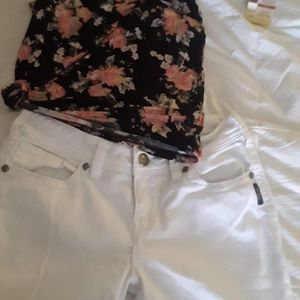 Silver white skinny jeans & floral tank top